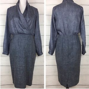 MaxMara Silk & Wool Wrap Front Career Style Dress
